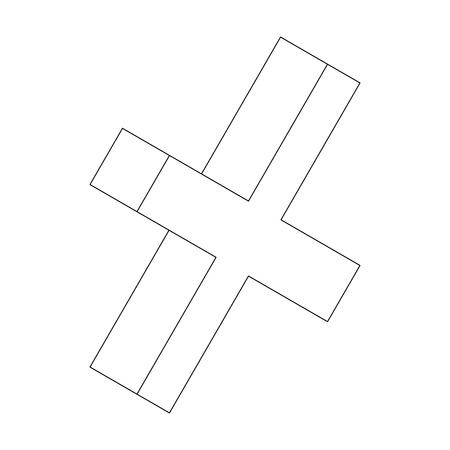 cross mark: Cross mark icon in isometric 3d style isolated on white background