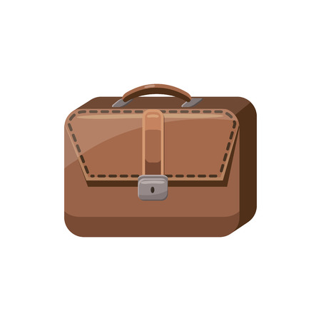 case history: Brown business briefcase icon in cartoon style on a white background