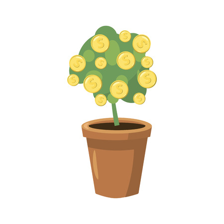 potting soil: Decorative tree in flowerpot icon in cartoon style on a white background