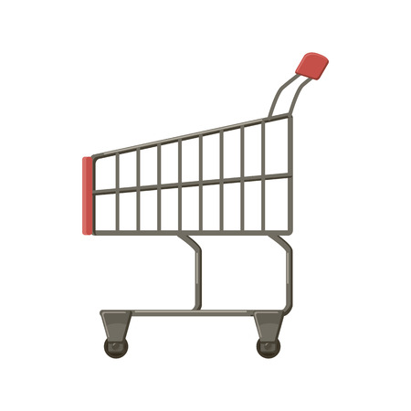 chrome cart: Shopping cart icon in cartoon style on a white background