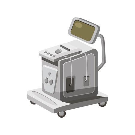 scanner à ultrasons pour l'icône d'examen médical dans le style de bande dessinée sur un fond blanc