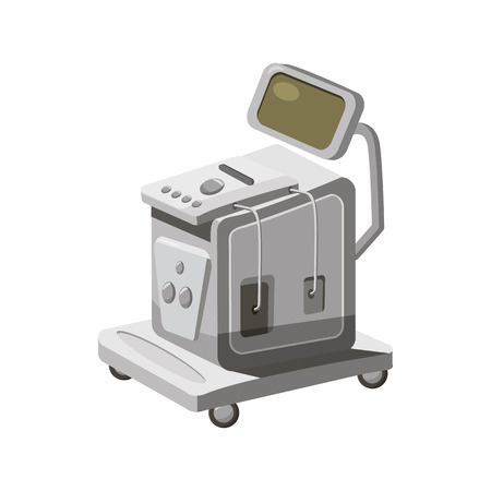 gynecologist: Ultrasonic scanner for medical examination icon in cartoon style on a white background Illustration