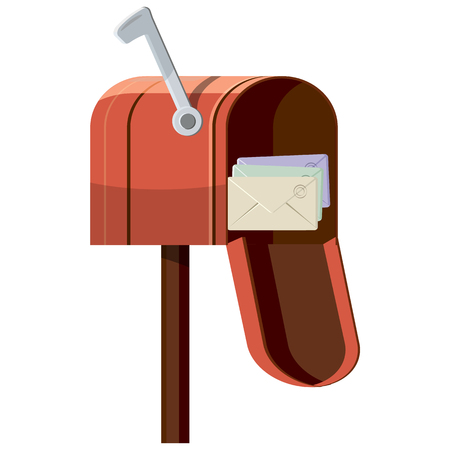 mailbox: Mailbox icon in cartoon style isolated on white background