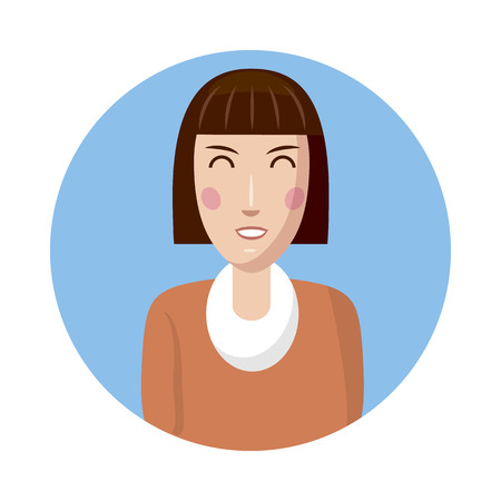 profile picture: Woman avatar icon in cartoon style isolated on white background. White woman avatar profile picture