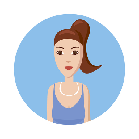 profile picture: Girl avatar icon in cartoon style isolated on white background. White girl avatar profile picture Illustration