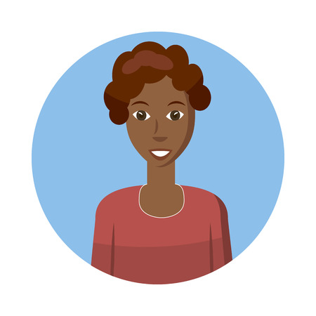 profile picture: Woman avatar icon in cartoon style isolated on white background. Dark-skinned woman avatar profile picture