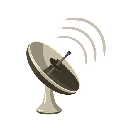 satellite tv: Radar icon  in cartoon style isolated on white background. Satellite dish tv technology icon Illustration
