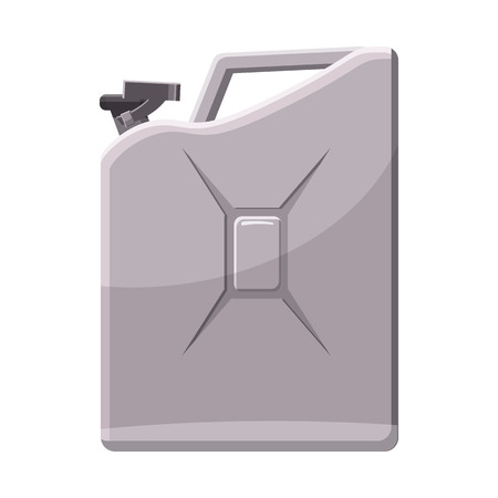 metalic background: Metalic jerrycan icon in cartoon style on a white background