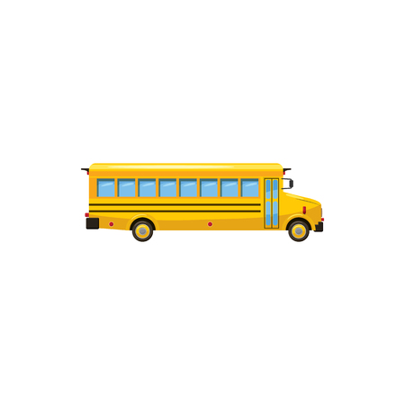 yellow schoolbus: Yellow school bus icon in cartoon style on a white background Illustration