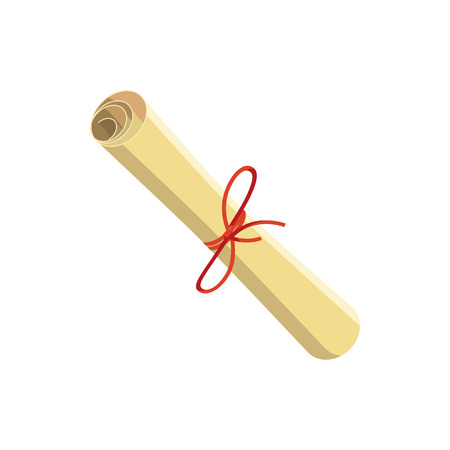 Rolled paper with red tape icon in cartoon style on a white background Illustration
