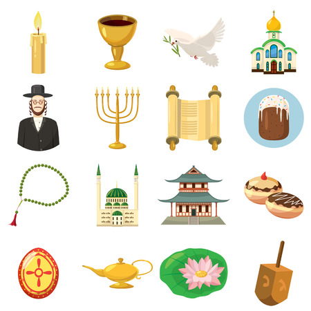 nirvana: Religion icons set in cartoon style isolated on white background Illustration