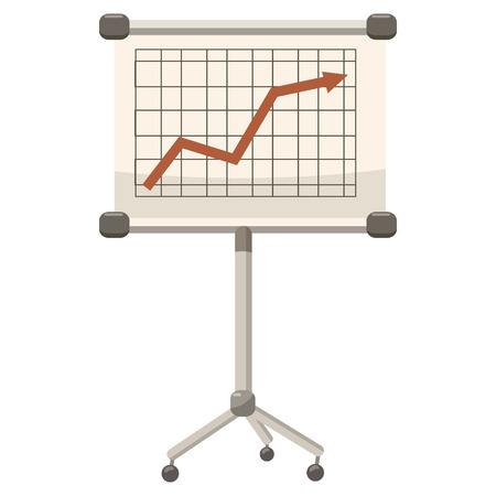 presentation screen: Presentation screen with graph icon in cartoon style on a white background