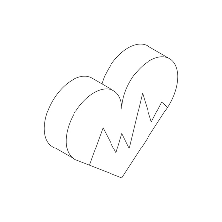 medical heart: Heartbeat icon in isometric 3d style isolated on white background Illustration
