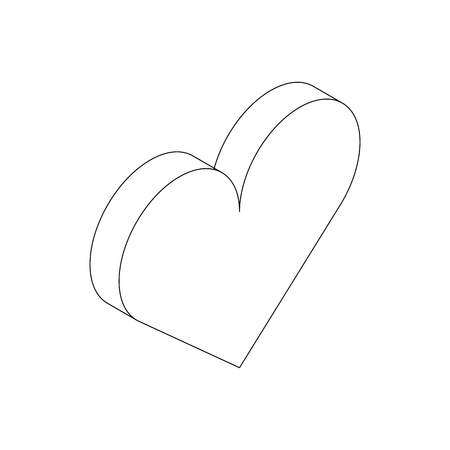 cardiograph: Heart icon in isometric 3d style isolated on white background