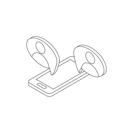 representing: Mobile chatting icon in isometric 3d style isolated on white background. Mobile phone representing web chatting and dialog