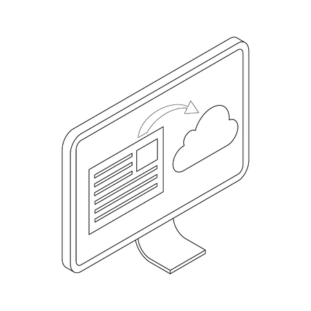 Monitor icon in isometric 3d style isolated on white background. Document synchronization to cloud on monitor screen