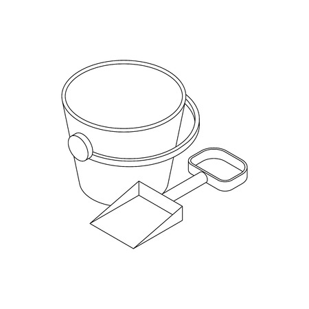 pail: Pail and shovel icon in isometric 3d style isolated on white background Illustration