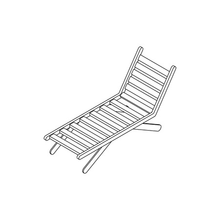 convalescence: Chaise lounge icon in isometric 3d style isolated on white background. Sunbed icon