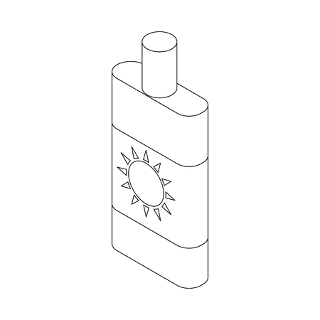 sun lotion: Sun lotion icon in isometric 3d style isolated on white background. Sunscreen lotion icon