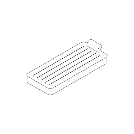 raft: Floating air mattress icon in isometric 3d style isolated on white background. Beach mattress or pool raft Illustration