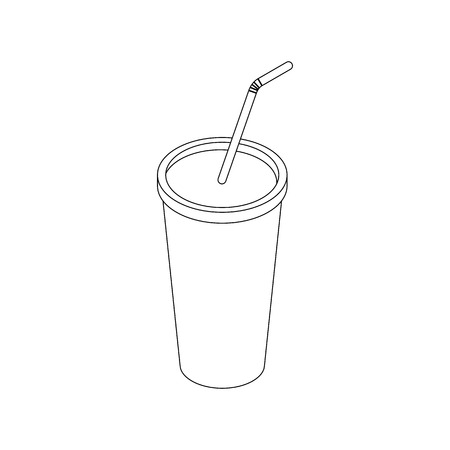 plastic straw: Plastic cup icon in isometric 3d style isolated on white background. Plastic fastfood cup with a straw