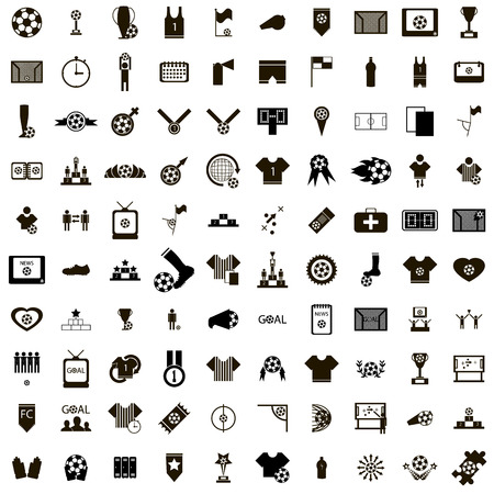 100 Soccer Icons set in simple style isolated on white background Vetores