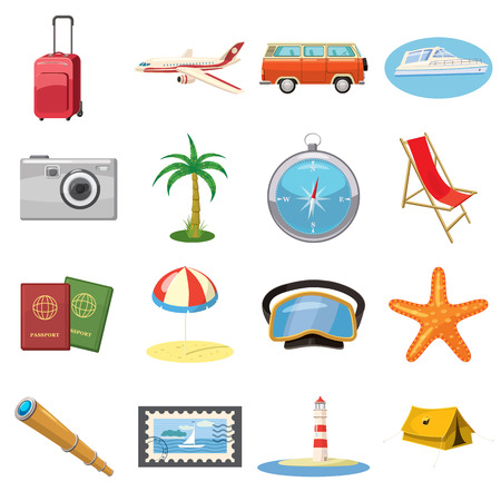 recreation rooms: Travel Icons set in cartoon style isolated on white background