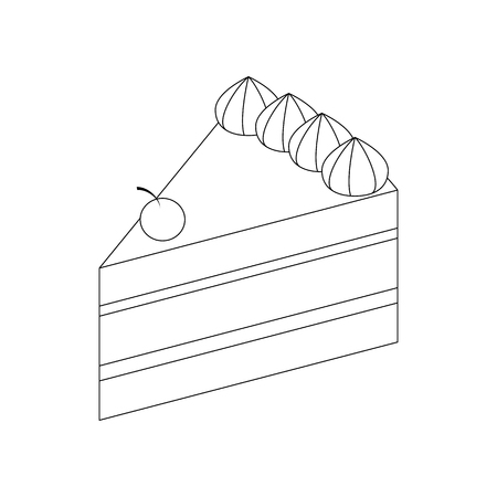 piece of cake: Cake icon in isometric 3d style isolated on white background. Piece of cake with cream and cherry