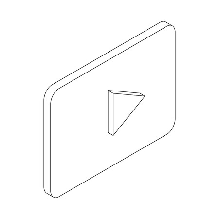 off the record: Play button icon in isometric 3d style isolated on white background
