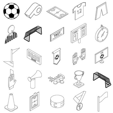 penalty card: Soccer icons set in isometric 3d style on a white background