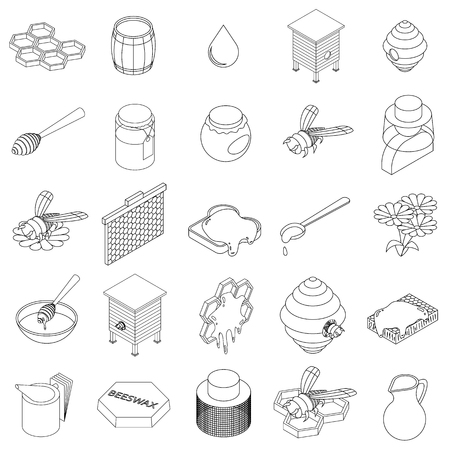 apiculture: Beekeeping icons set in isometric 3d style on a white background