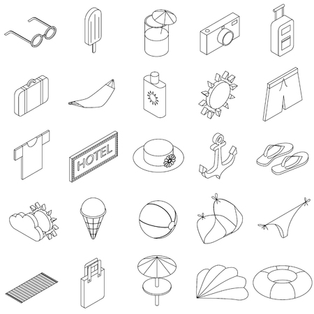 sun block: Summer Icons set in isometric 3d style isolated on white