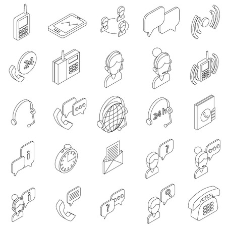 pictogram people: Support service icons set in isometric 3d style on a white background Illustration