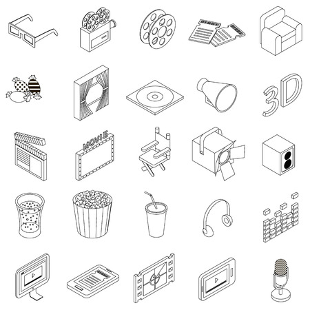 Cinema icons set in isometric 3d style on a white background