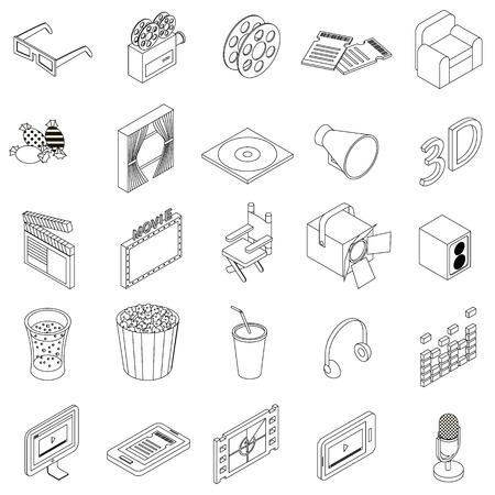 Icônes de cinéma définies dans le style 3d isométrique sur un fond blanc Banque d'images - 55045653