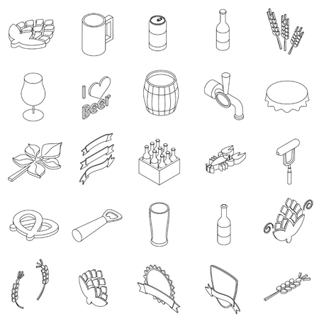 vectro: Beer set icons in isometric 3d style isolated on white background Illustration