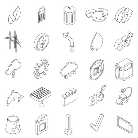 antipollution: Ecology set icons in isometric 3d style isolated on white background Illustration