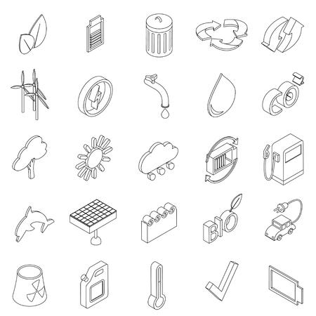 Ecology set icons in isometric 3d style isolated on white background Illustration