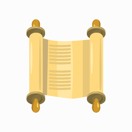 torah scroll: Jewish Torah scroll in expanded form icon in cartoon style isolated on white background
