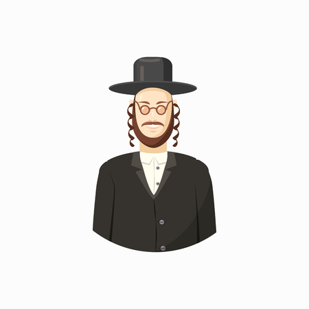 semite: Avatar of Jew man with traditional headdress icon in cartoon style isolated on white background