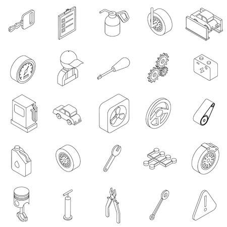 disk break: Car service set icons in isometric 3d style isolated on white background