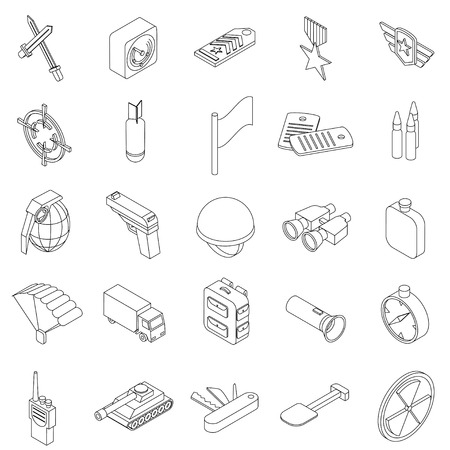 chaser: War set icons in isometric 3d style isolated on white background Illustration