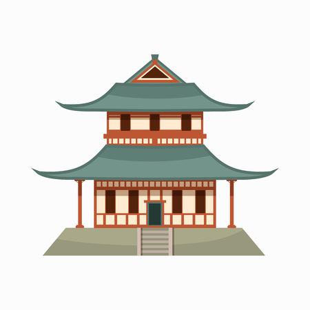 ancient architecture: Pagoda icon in cartoon style isolated on white background. Buddhist temple Illustration