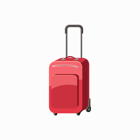 trolley case: Red travel luggage icon in cartoon style isolated on white background Illustration