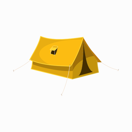 camping tent: Yellow tourist tent icon in cartoon style isolated on white background