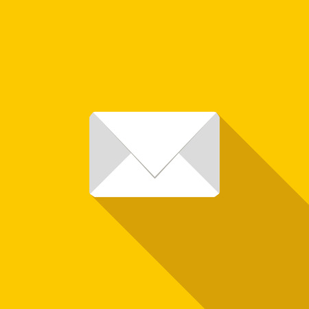 secret identities: White envelope icon in flat style on a yellow background