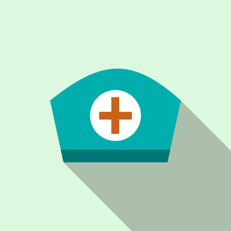 nurse cap: Nurse cap icon in flat style on a light blue background