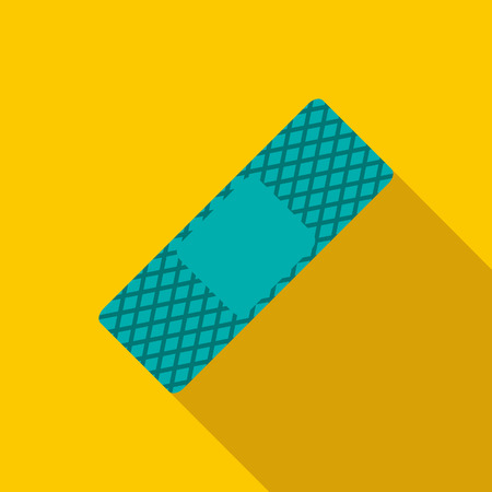 skin injury: Medical plaster icon in flat style on a yellow background Illustration
