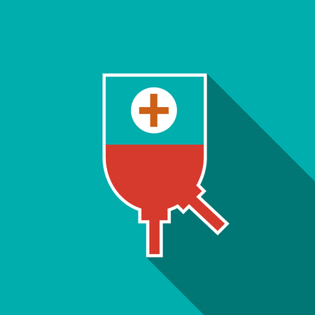 donor blood type: Blood donation icon in flat style on a blue background