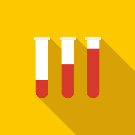 a substance vial: Medical test tubes with blood in holder icon in flat style on a yellow background